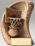Curve Action Series Sculpted Antique Gold Resin Trophy -Basketball Basketball Trophy Awards