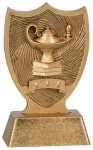 Plastic Lamp of Knowledge Shield Award Figure on a Base Trophies