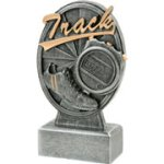 Pinwheel Script Track Resin Track Trophy Awards